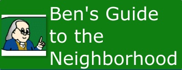 Ben Franklin's interactive guide to the neighborhood includes six different community helpers.