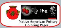 Fun interactive printable Native American Indian coloring pages for kids to color online. Indian Pottery coloring page reader. Great mouse practice for toddlers, preschool kids, and elementary students. Indian Pottery - part of the learn-to-read, read-to-me series of reading games.